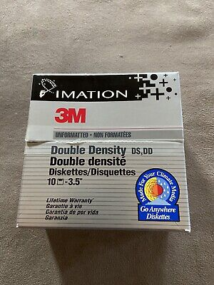 """IMATION 3M Double Density Diskettes (9) Unformatted 3.5"""" 1MB"""