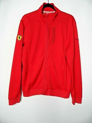 SCUDERIA FERRARI Official Puma Track Jacket Size UK L Red EU 52/54 Red Coat Top