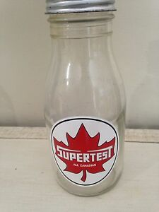 Antique large neck imperial quart glass oil bottle can gas sign