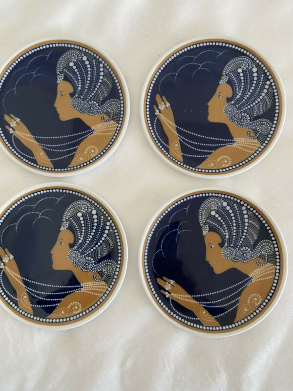 4 Art Deco Dubai Sheraton Hotel Germany Coasters/Trinket Dishes Egyptian