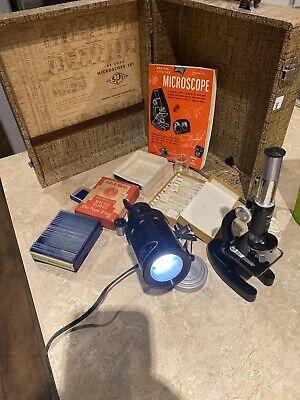 Vintage Spi Microscope Kit W Carrying Case Slides Light Extra Lens