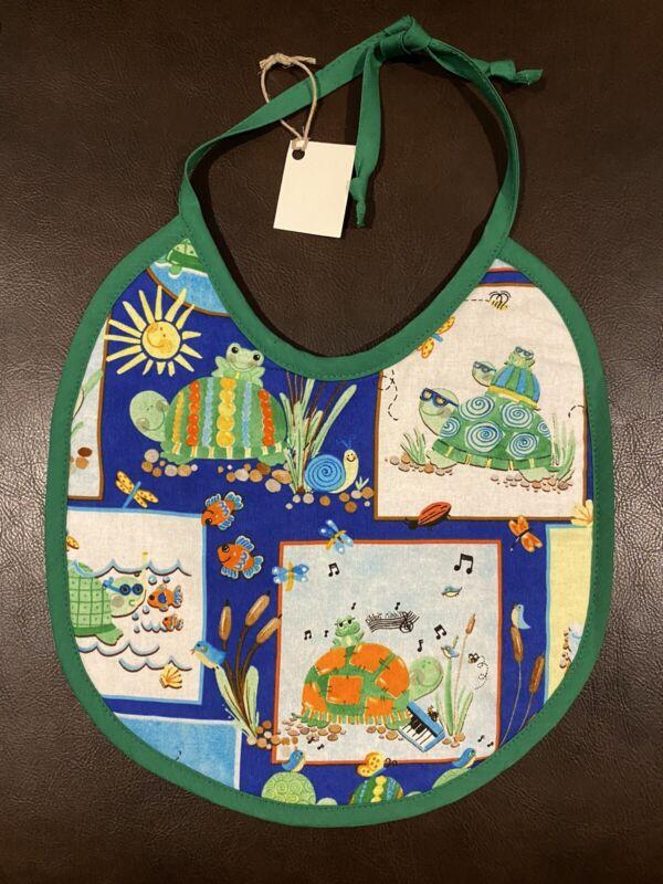 Turtle and Frog Theme Custom Made Baby Bib