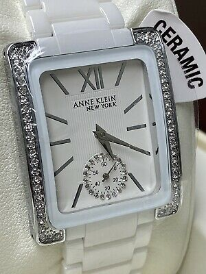 Anne Klein 12/2321WTSV Ladies Crystal Accented Ceramic & Silver Tone Watch