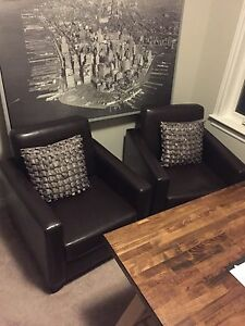 2 Faux Leather Club Chairs
