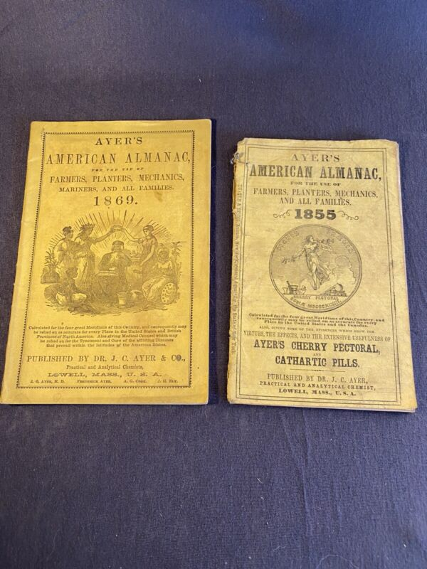 2 Ayers American Almanacs 1855&1869 Published By Dr J C Ayer & Co Lowell,MA