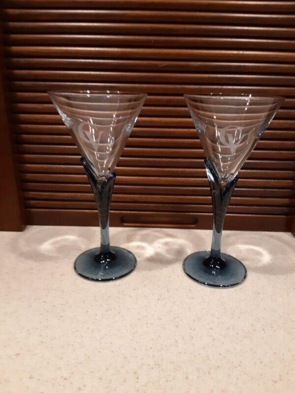2- House of Courvoisier Cognac Glasses w/Blue Stem
