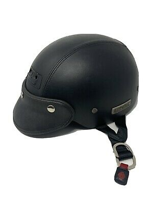 Harley Davidson 1/2 Helmet XL Mens DOT Black Leather Lace Up 2001 Collector VTG