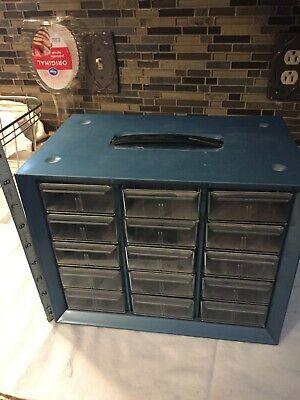 Vintage Akro-mils Akron Oh Blue Metal 15 Drawer Parts Organizer Storage Cabinet