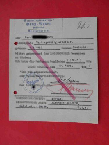 KZ Lager GROSS ROSSEN 1944 Genuine Document to BORDELL for contract worker