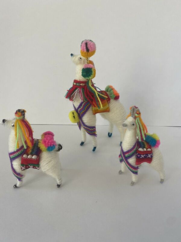 Peruvian Pack llama woven in wool and llicllas LOT OF 3 FAMILY