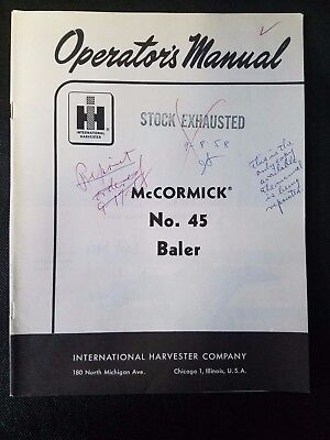 Original International Harvester Operators Manual Mccormick For No. 45 Baler