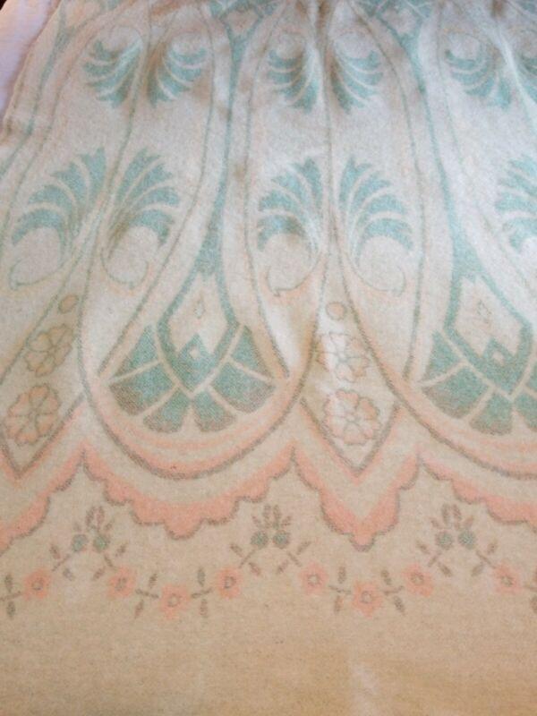 Antique Original Vintage 1920-30s  Art Deco Wool Blanket REVERSIBLE Amazing EVC
