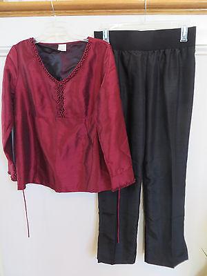 Motherhood Maternity 2pc Outfit Embellished Red Shirt Top Black Pants Sz M VGUC