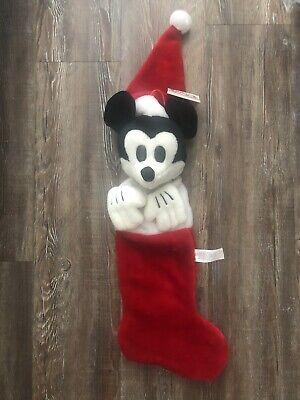 Vintage 1930's Mickey Mouse Santa Plush 3D Christmas Stocking The Disney Store