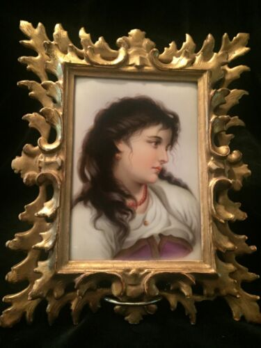 Antique Fine Hand Painted KPM style Porcelain Plaque Gypsy girl