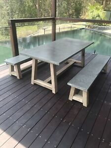 Solid Concrete Dining Table Set - 2400x1000mm