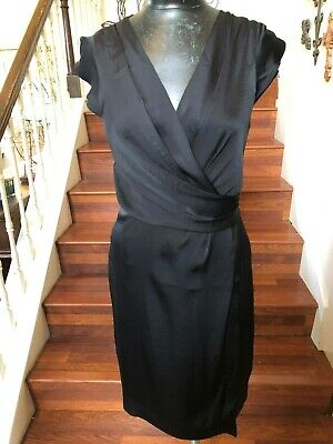 New Look Party Clothes (H & M Dress Black New Wrap Look Sheath Short Sleeves Party Cocktails Size)