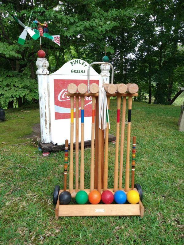 Vintage Brookstone Complete 6 Player Croquet Set  Outdoor Lawn Game Activity