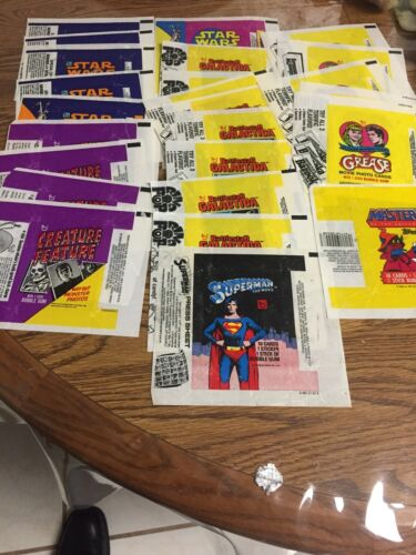 25 ASSORTED TOPPS WRAPPERS CREATURE FEATURE STAR WARS GALACTICA GREASE ETC