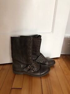 BCBG brown Half calf casual boots with buckle