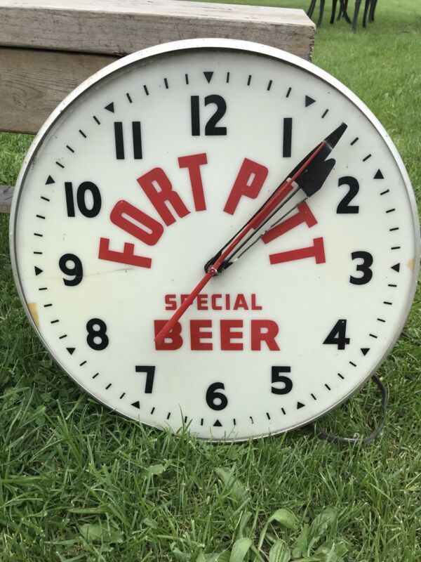 Rare Vtg Fort Pitt Special Beer Electric Lighted Clock, Wall Mount