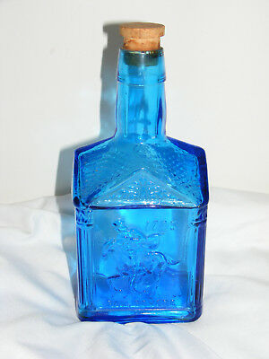 Vintage Paul Revere Blue Glass House Syrup Bottle Wheaton N.J. Decanter C25