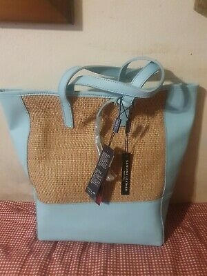 NWT INNUE BABY BLUE SAFFIANO LEATHER BROWN WOVEN LEATHER PANEL TOTE ITALY