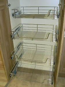4 X Pull Out Wire Basket Chrome Kitchen Bedroom Drawer