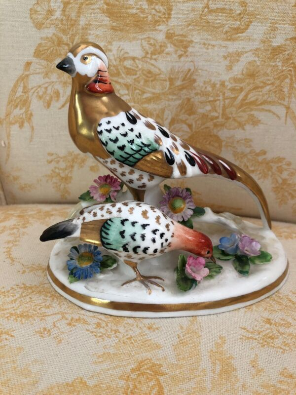 Crown Staffordshire JT Jones Golden Pheasants Porcelain Bird Figurine