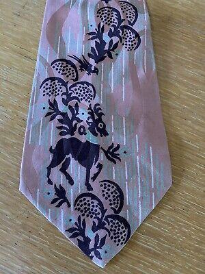 1940s Mens Ties | Wide Ties & Painted Ties Vintage 1940s Art Deco Wide Silk Tie Postwar Dark Peach Sage Green Stag Medieval $15.00 AT vintagedancer.com