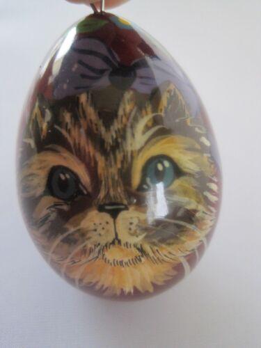 Cat Painted Wood Egg Ornament