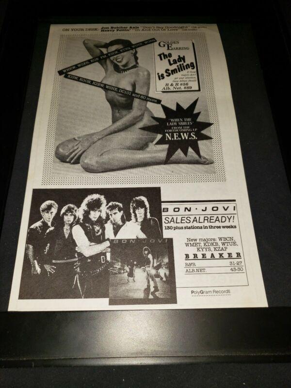 Golden Earring/Bon Jovi Rare Original Radio Promo Poster Ad Framed!