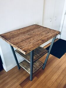 ROLLED STEEL & RECLAIMED WOOD KITCHEN ISLAND BAR HEIGHT TABLE