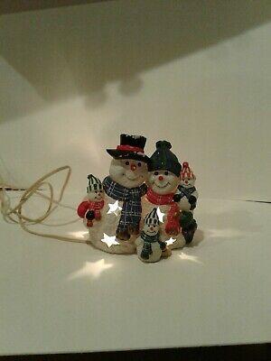 Vintage Ceramic Snowman Light Up Christmas Indoor Decoration