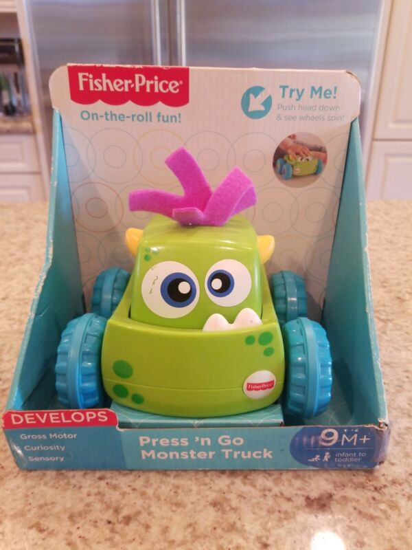 Press N' Go Kids Green Monster Truck Fisher Price Toddler Push And Go Fun Car
