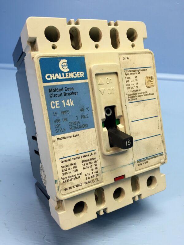 Challenger CE3015 15A Circuit Breaker 480V 3 Pole CE3015L Cutler-Hammer 15 Amp