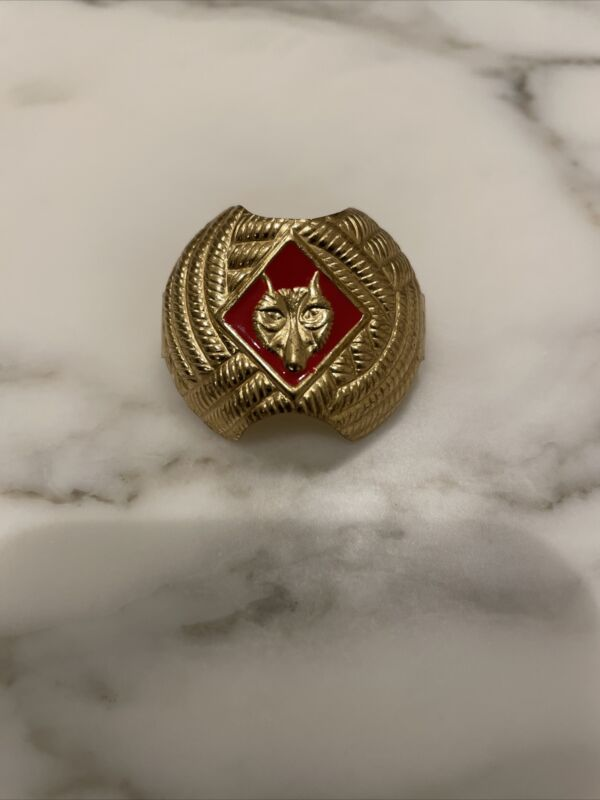 BSA-Boy Scouts of America Neckerchief/Scarf Red Wolf Gold Tone Slide Cub Scout