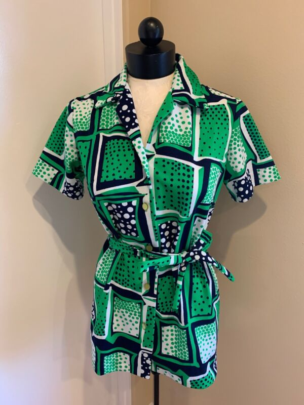 Vintage 1960's-1970's Mayer Lang Marquis Green And Navy Print Top/Tunic Size 12