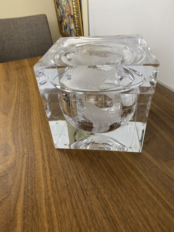 Solid Lucite World Globe Ice Bucket Vintage Space Age Grainware Carlisle Modern