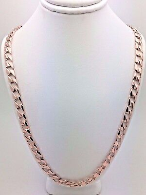 "Solid 14K Rose Gold 24"" Flat Cuban Link Chain Necklace 38 grams, 6.3 mm"