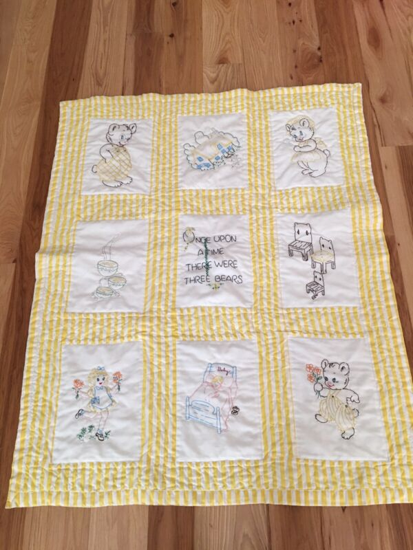 Vintage Baby Quilt Yellow White Goldilocks And The Three Bears Hand Embroidered