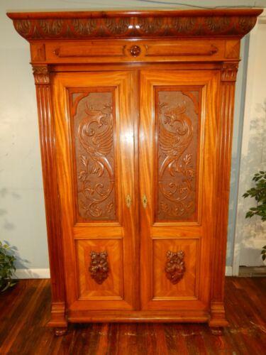 Antique 1880s Wardrobe Linen Press Carved Dragons Biedermeier Armoire