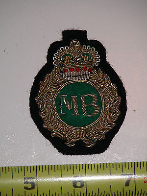 "Military Patch w/ Gold Thread ""MB"", possibly British"