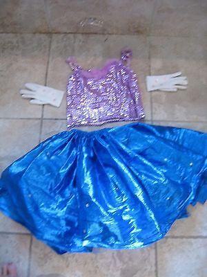 Deluxe Vtg Princess Halloween Costume 4 6x Girls Skirt Top Tiara Gloves Dress Up