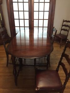 Antique Dining Table with Four Chairs and Two Hutches