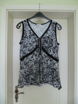Bonita Long Top Gr. XL 42 44 schwarz weiß grau Bluse Tunika Shirt Spitze  online kaufen