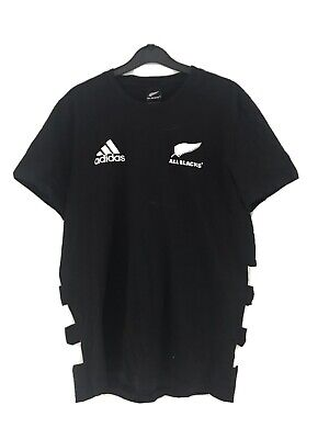 Mens Adidas All Blacks Rugby New Zealand Team T-Shirt Black Climacool Size L