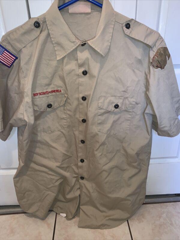 Boy Scout BSA UNIFORM SHIRT  Men's  Large Short Sleeve Tan L65