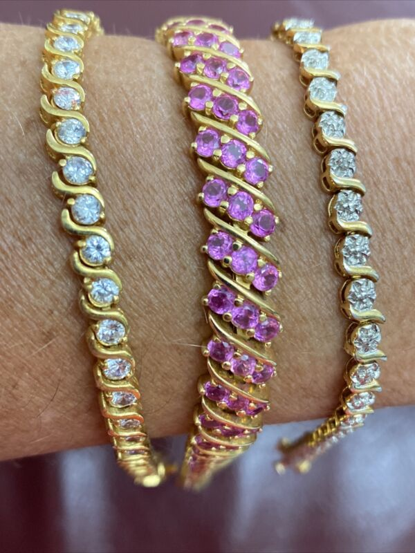 sterling silver 925 Gold -Filled Lot  Of 3 Bracelets With Stone 50g