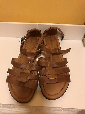 HUSH PUPPIES BROWN LEATHER FLAT SANDALS UK 5